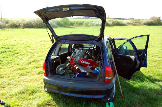 rotavator in the back of our corsa